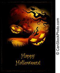 Halloween Pumpkins - Halloween Funny Pumpkins At Night In...