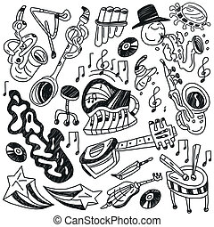 jazz doodles - jazz - set icons