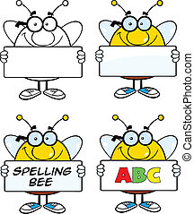 Bee Characters Set Collection 4 - Bee Cartoon Mascot...