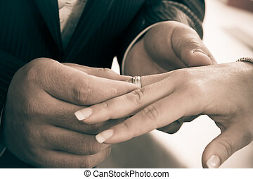 Wedding rings. Closeup of hands of bridal couple with...