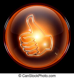 thumb up icon, approval Hand Gesture, isolated on black...