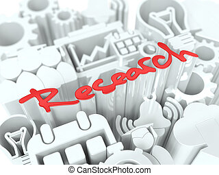 Research Concept on White Background.