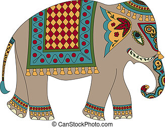 elephant - Stylized patterned elephant in Indian style
