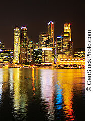 Singapore in neon light - View of Singapore at night with...