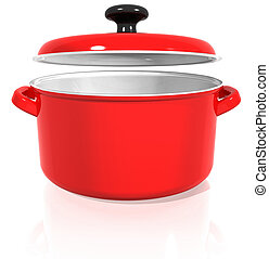 red pan with a raised lid on a white background with...