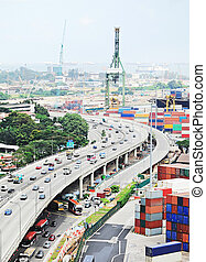 Singapore industrial - Singapore highway near commercial...
