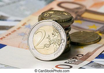 euros, pesos, algunos, cincuenta, billetes de banco, cinco