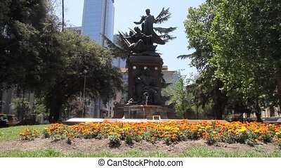 Fountain and Landmark in Santiago d - A fountain and...