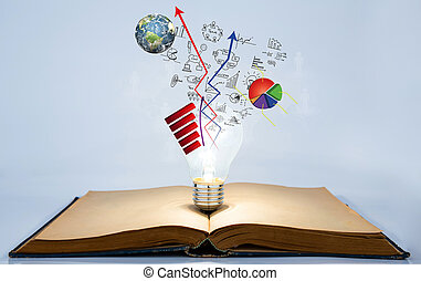 Book and light bulb with business graph (Elements of this...