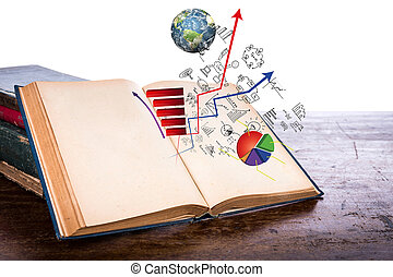 Open old vintage book with business graph on wooden table...