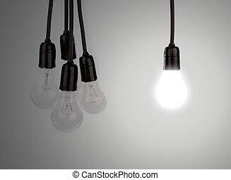 ahorcadura, luz, bombillas