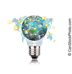 Light Bulb with earth of social network (Elements of this...