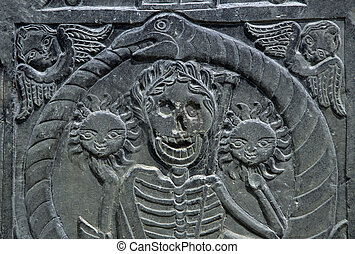 Tombstone markings - old new england 17th century headstone...