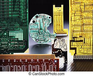 Computer boards - multi colored computer boards on black...