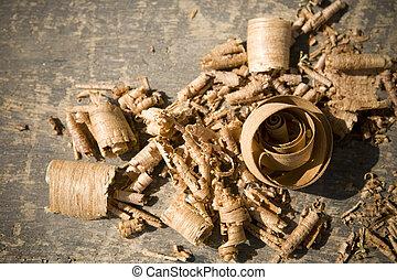 Sawdust on table