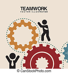 team work - teamwork design over pink background vector...