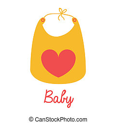 baby bib over white background vector illustration