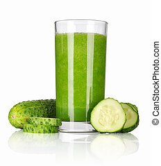 Vegetable smoothie from spinach and cucumber isolated on...