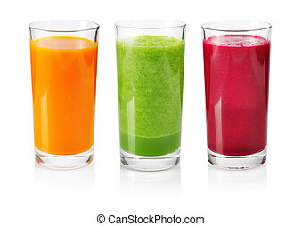 Vegetable smoothie from cucumber, beet and carrot isolated...