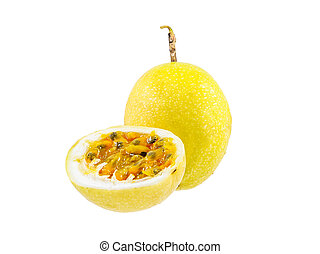 Passion fruit whole fruit and opened isolated on white...