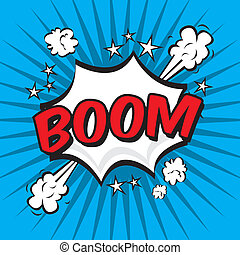 boom comics icon over blue background vector illustration