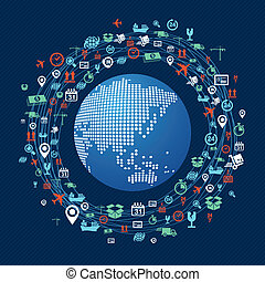 Shipping concept icons network circle around planet Earth...