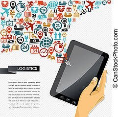 Shipping icons composition human hand tablet app...