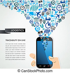 Shipping logistics mobile human hand icons splash - Shipping...