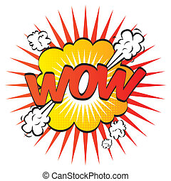 wow pop art - wow por art over white background vector...