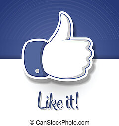 LikeThumbs Up symbol icon, vector Eps10 illustration