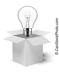 cardboard box with lit light bulb isolated on a white...