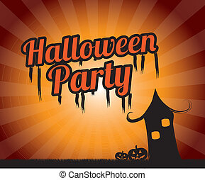 halloween party over grunge background vector illustration