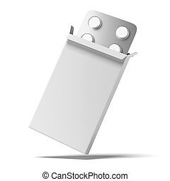 Open medicine packet isolated on a white background