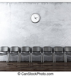 wall clock and black chairs - interior with wall clock and...