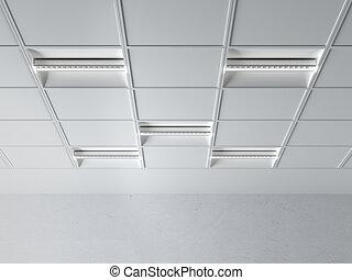 fluorescent, lampe, plafond