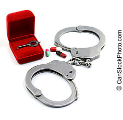 Red box for Handcuffs, Medicine  and Pills
