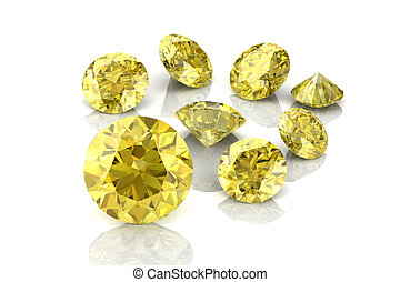 Beautiful yellow diamond high resolution 3D image