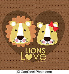 lions design - lions design over dotted background vector...