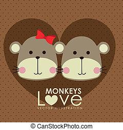monkeys design over dotted background vector illustration