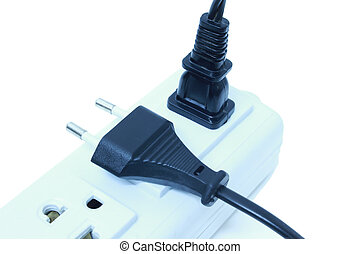 plugs plugged into electric power bar - plugs plugged into...