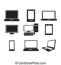 computers icons over white background vector illustration