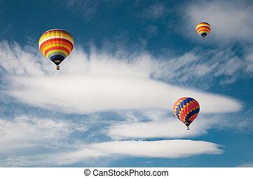 balloon, quentes, nuvem, ar