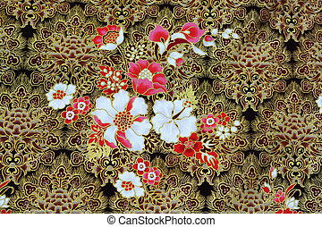 Colorful batik cloth fabric background