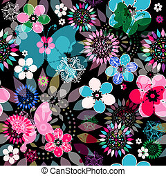 Seamless floral dark pattern - Seamless dark floral pattern...