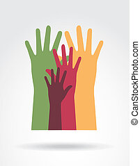 hands up over gray background vector illustration