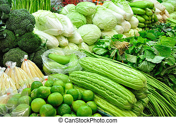 Many type of fresh vegetables for sell at market.
