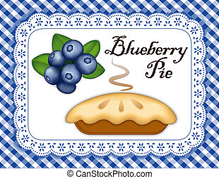 Blueberry Pie, ripe berries, white eyelet lace doily, blue...