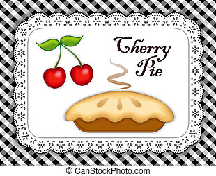 Cherry Pie, ripe fruit, white eyelet lace doily, black...