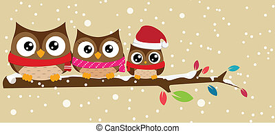 owl family on the branch christmas - Vector Illustration Of...