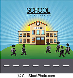 school design over sky background vector illustration